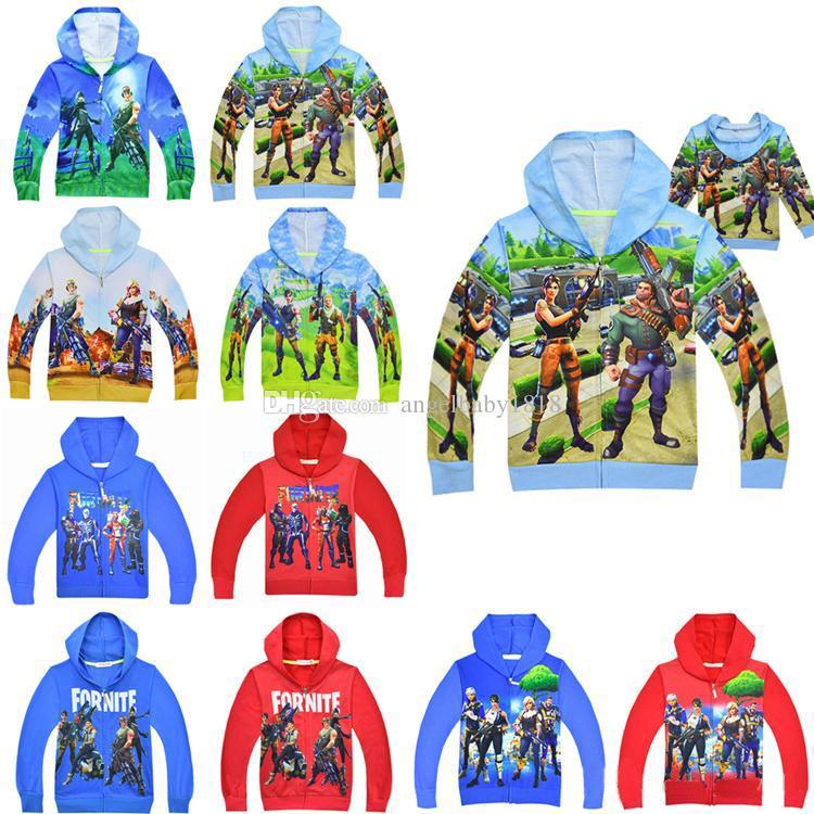 Compre 2018 Niños Fortnite Abrigos 6 14 Años Niños Niños Niñas Fortnite  Impresión Sudaderas Con Capucha Cremallera Camisa Chaqueta Niños Outwear  Ropa A ... ca6c564917fba