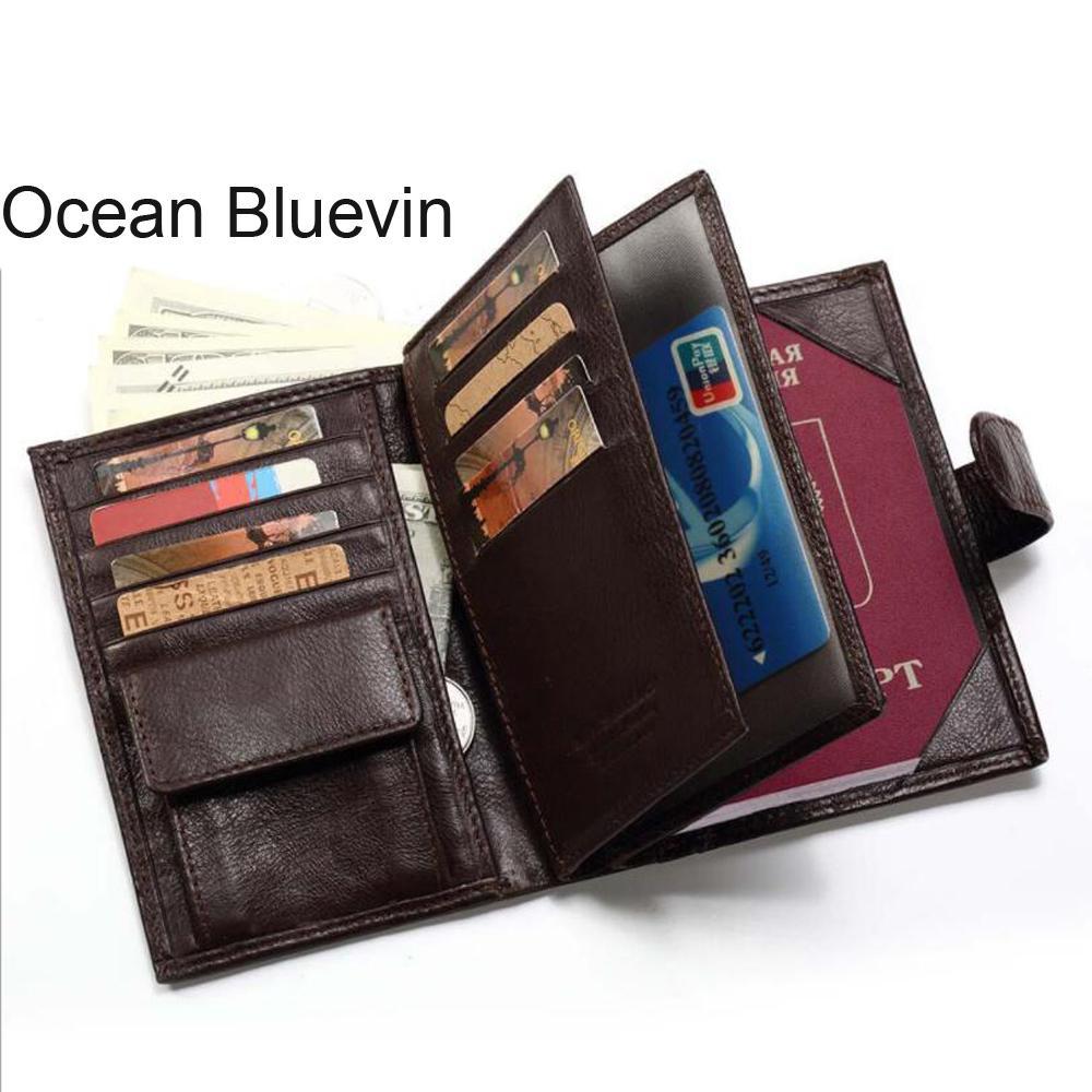 853ee087ef39 Compre OCEAN BLUEVIN Billetera De Cuero Para Hombre Capa Superior De Cuero  Casual De Negocios Monedero Multifunción De Gran Capacidad Libreta De  Pasaportes ...