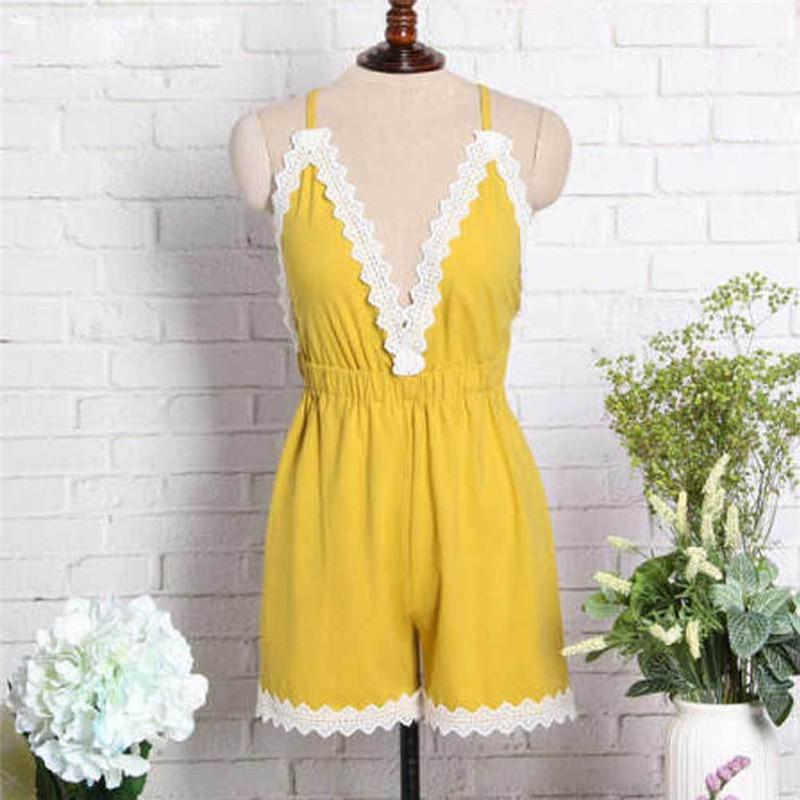 e9151dfa6a9f 2019 Women Summer Holiday Clothes Casual Loose Sleeveless Deep V Neck Mini  Playsuit Ladies Shorts Hot Beach Solid Cotton Jumpsuit From Stripe