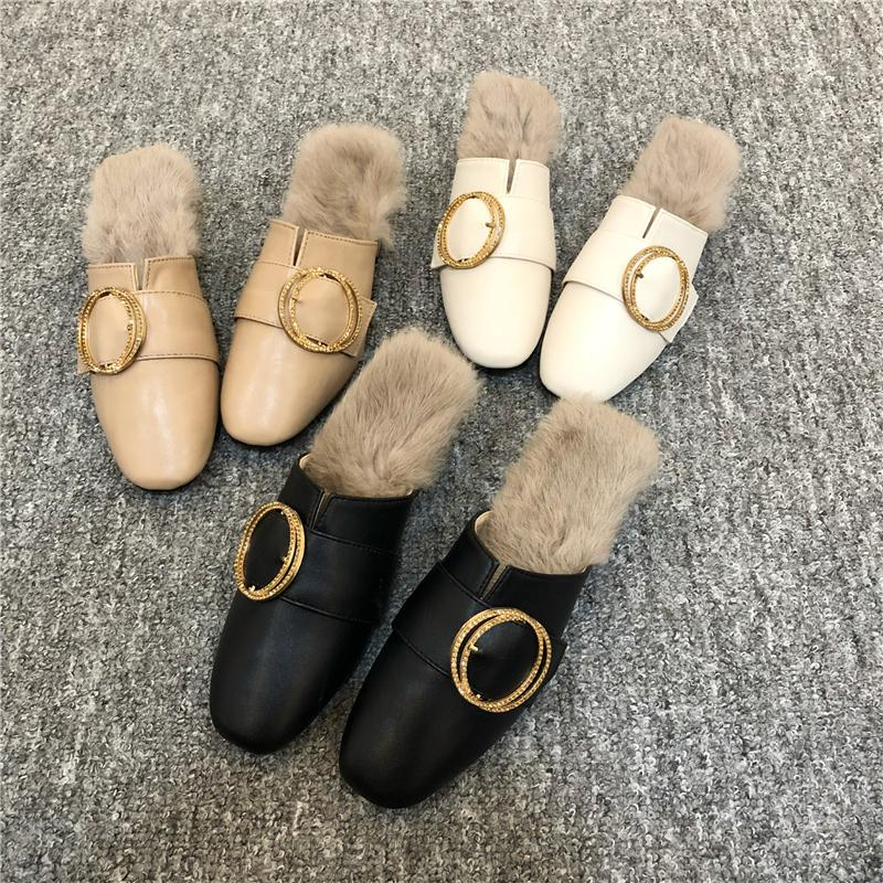 d5a51720fc81d8 Shoes Woman Designer Slides Women 2018 Winter Slippers Fur Sliders Dames  Fluffy Slipers Furry Ladies Gg Fuzzy Plush Mules Leather Boots For Women  Purple ...