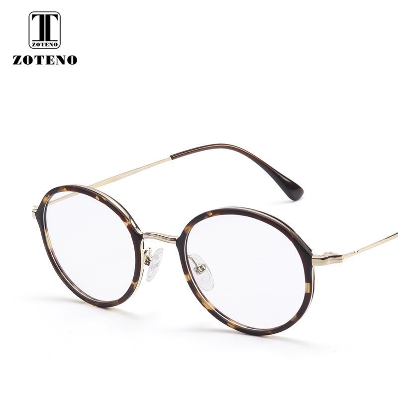 3b554d4dc TR90 Armação de Metal Rodada Armações de Óculos de Miopia Prescrição Lente  Óptica Armações de Óculos de Olho Para As Mulheres de Alta Qualidade # 2163