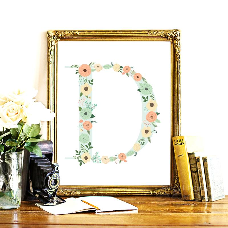 2018 Icture For Home Floral Monogram Nursery Letter D Art Print Art ...