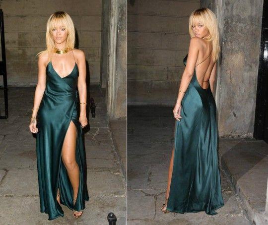 ECR004 Sexy Dark Green Rihanna Dresses V neck Spaghetti Straps Open Back Satin Celebrity Dress Slit Long Evening Party Gown