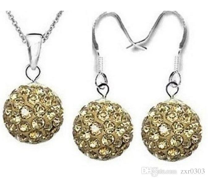 Mejores Nuevos Conjuntos de Joyas de Plata Cristal de Plata Austríaco Pave Disco Bola Palanca Collar trasero Pendiente Colgante Collar de Mujer