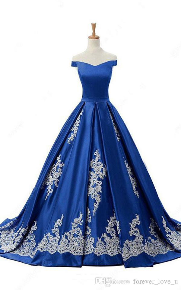 Blaues Kleid Elfenbein SpitzeAppliques Abendkleider lange formaler Weg von der Schulter A-Linie Abend-Partei-Kleider mit Sweep Zuge