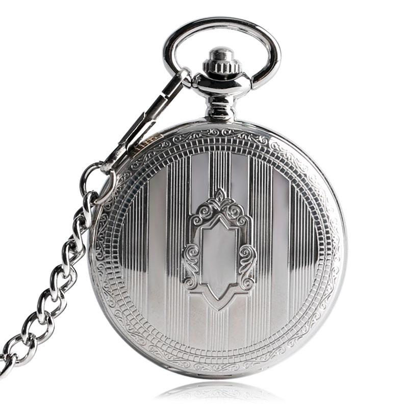 TOP Sales Silver Steampunk Skeleton Automatic Mechanical Pocket Watch with Chain Erkek Kol Saati Watches Men Unisex Gifts Clock