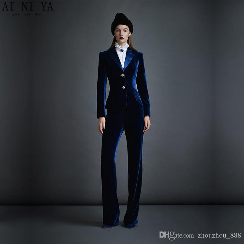 7e3e98d6a9d Dark Blue Velvet Women's Business Suits Formal Office Pant Suits Female Work  Wear 2 Piece Sets Slim Fit Uniform Designs Blazers
