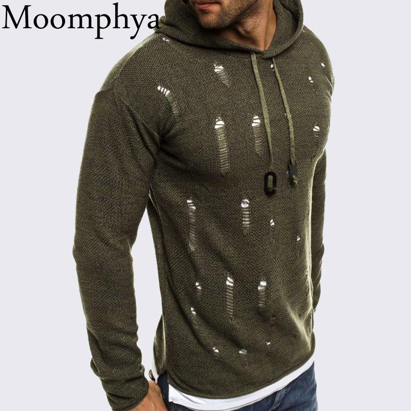 557f09115bf Moomphya Ripped Holes Hooded Sweater Men Sueter Hombre Pullover Men ...
