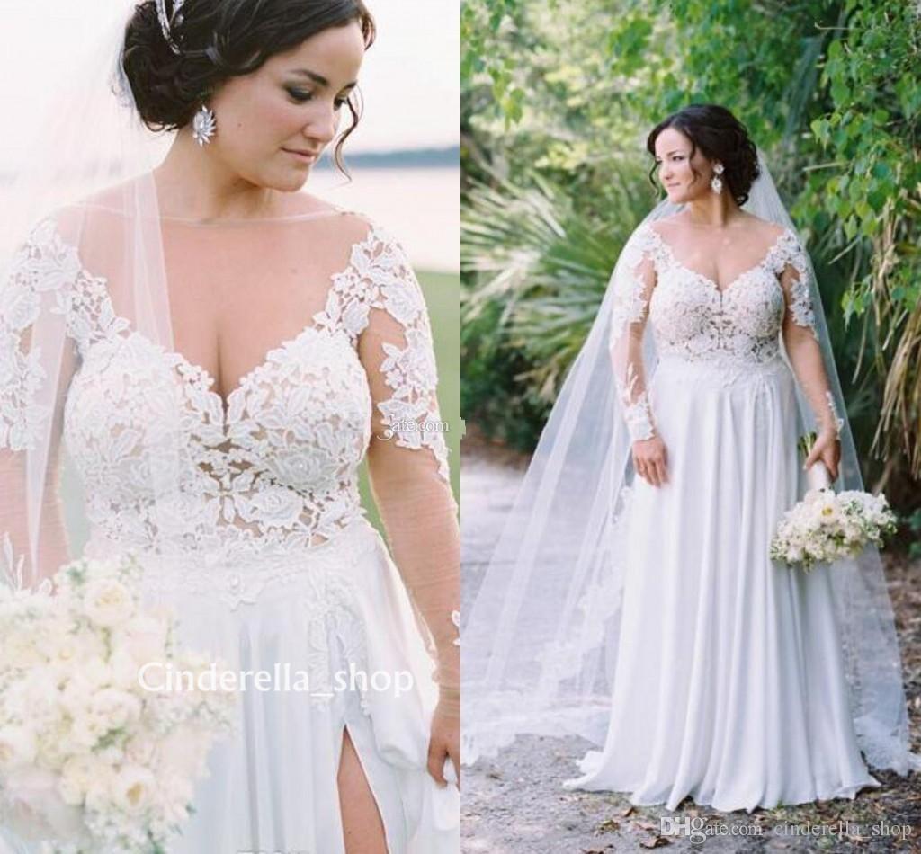 9f15939321 Gorgeous Plus Size Beach Wedding Dresses Long Appliques Sheer Neck  Appliques Split A Line Sweep Train Garden Bridal Gowns Vestidos De Noiva