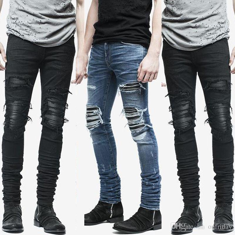4d1ebebe75 Compre Nueva Hem Cremallera Estiramiento Rodilla Ripped Biker Jeans Hombres  Agujero Hip Hop Ropa Skinny Jeans Moda Marca Hombres Pantalones Envío De La  Gota ...
