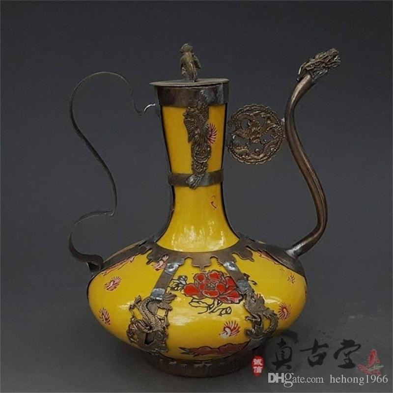 2019 Creative Flagon Teapot Home Decor Ornament Gift Antiques Collection Ancient Exquisite Antique Tibet Silver Green Porcelain Arts Crafts 55yz From