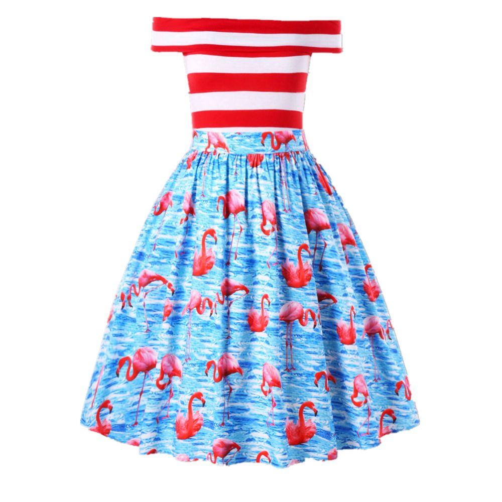 ZAFUL Plus Size Flamingo Print Vintage Party Dress Off The Shoulder ...