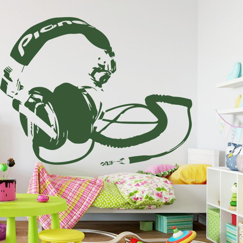 art new design headset wall stickers removable fashion home
