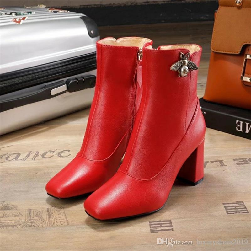 9674c5f5 Compre Mais Novo Design Marca Mulheres Botas Preto / Vermelho De Couro  Genuíno Sapatos De Inverno Mulher Sapatos De Salto Alto Zapatos Mujer De  Luxo ...