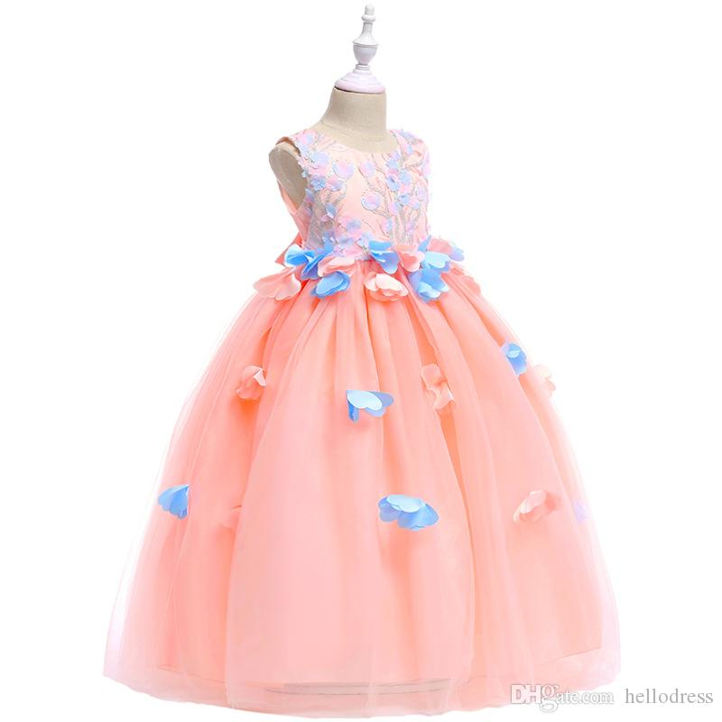 c897486142f5 A Line Embroidery Flower Girl Dresses Sleeveless Jewel Neck Floor Length  Handmade Flower Green Pink Kids Dress For Pageant Stage Bridal Shops Dress  For ...
