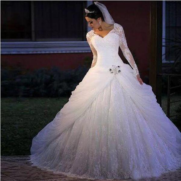 Luxuriöse Plus Size Long Sleeves Ballkleid Brautkleider Vintage Lace Appliques Kristalle V-Ausschnitt Brautkleid Brautkleider