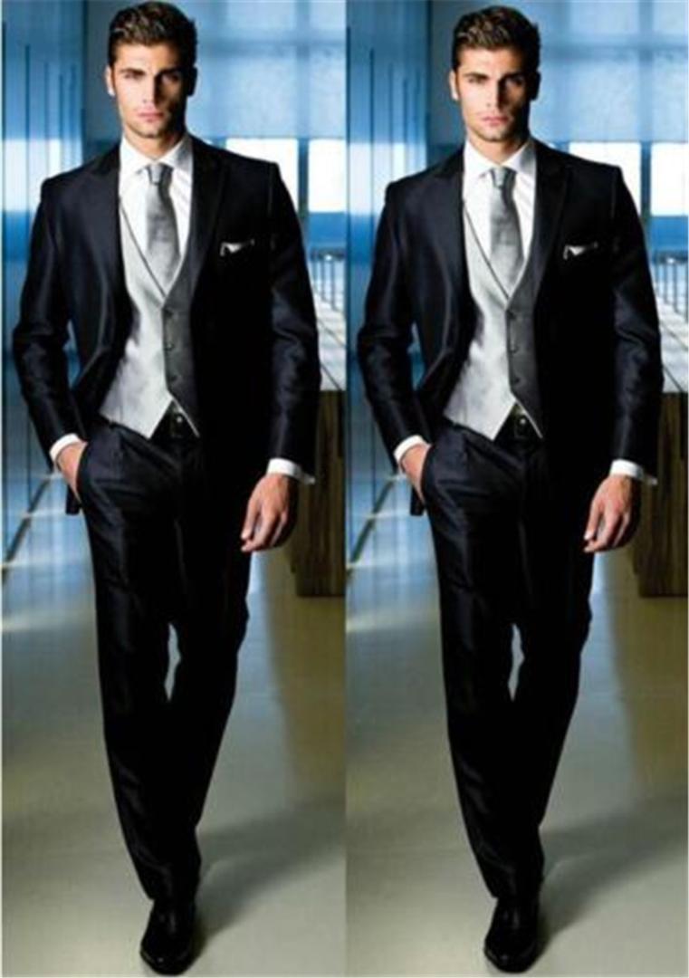 12748fed3f Compre Novos Homens Negros Ternos Slim Fit Skinny Moda Noivo Desgaste Dos  Homens Smoking 3 Peça Ternos De Cety