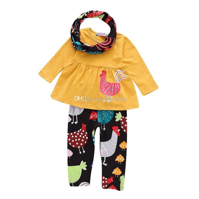 Acheter Thanksgiving Bébé Tenues Enfants Filles Turquie Robe Top + Pantalon  Imprimé Avec Écharpe   Set 2018 Automne Enfants Ensembles De Vêtements  C5309 De ... 249c00e65d8