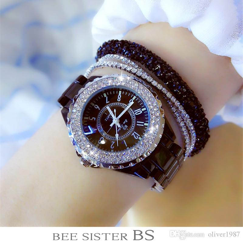 d57485c003 Luxuxfrauen-Rhinestone-Uhr-Dame Diamond Stone Dress Watch Schwarz-weißes  keramisches großes Vorwahlknopf-Armband-Armbanduhr-neue Dame-Kristall-Uhr