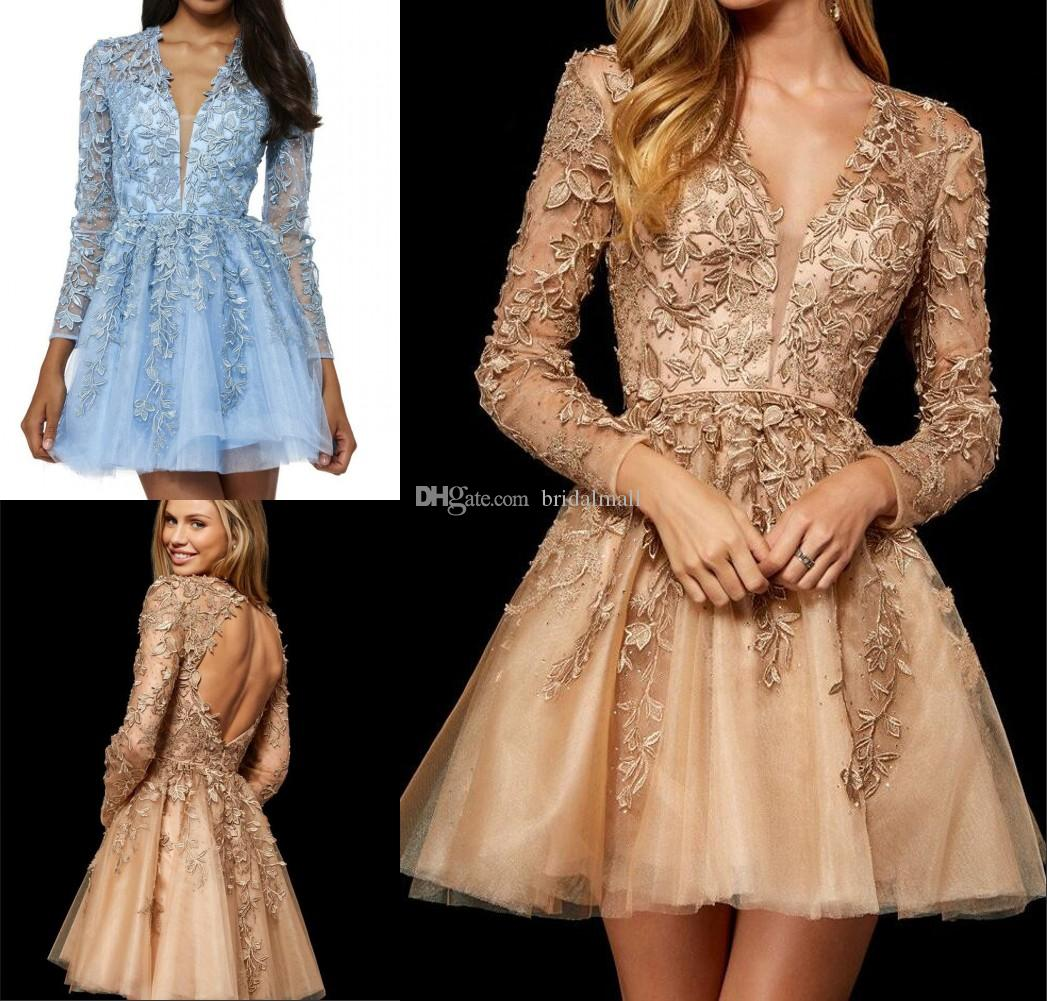Illusion Long Sleeve Homecoming Dresses 2019 Lace Appliques Short Formal Party  Gowns Sexy V Neck Cocktail Dresses Open Back Prom Dresses Orange Homecoming  ... da524af68