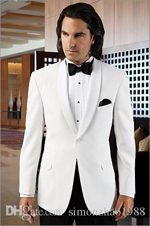 2018 Custom Made White Men Wedding Suit Fashion One Button Groom Tuxedos Tailor Made Tuxedos For Men Best Man Suit Jacket+Pants+Bow