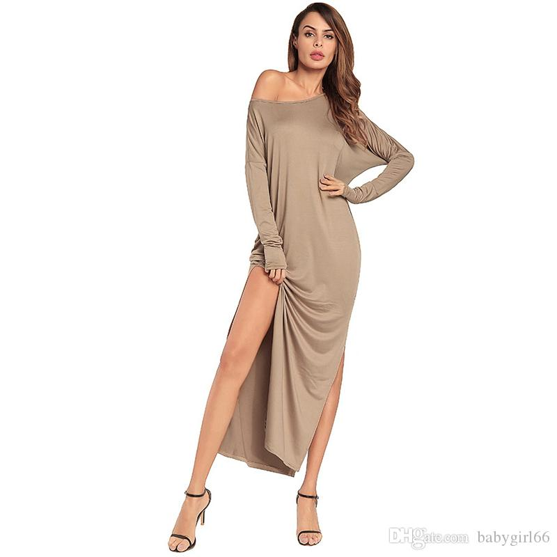 Solid Plus Size Dress Cotton Round Neck Strapless Long Sleeves Ankle