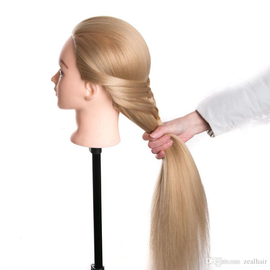 Training Mannequin Head With Hair 70cm Synthetic Fiber Cosmetology Hairdressing training head Dolls Manikin Heads Hairstyles