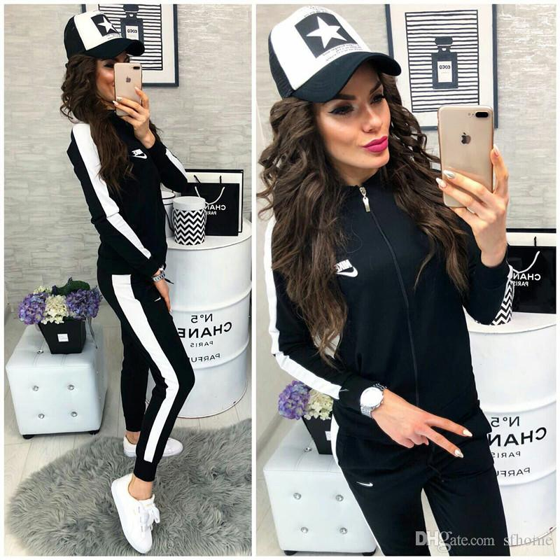 b5b846f8da6fe 18newEuropean and American spring and autumn new style women's wear,  fashion brand, letter printing, women's sports suit.