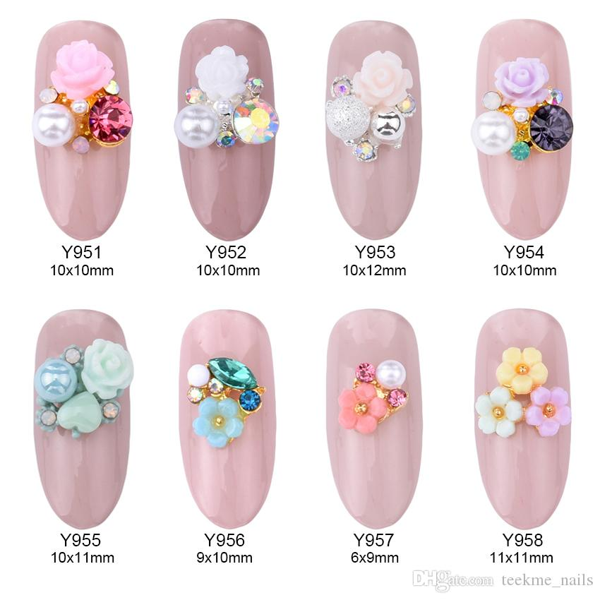 Rose Flowers Alloy 3d Nail Art Jewelry Nails Crystal Rhinestones ...