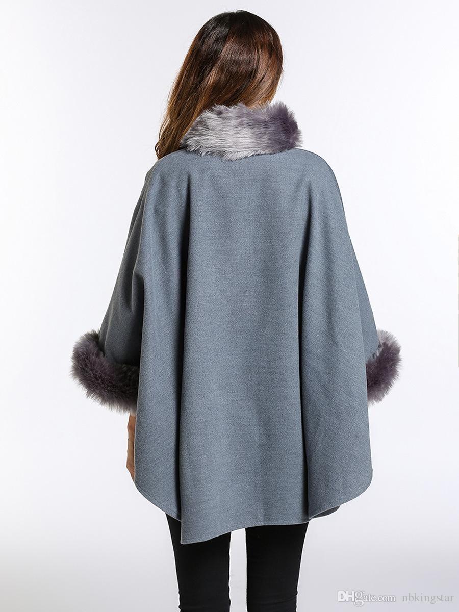 2018 Women Winter Wool Poncho and Capes with Faux Fox Fur Stand Collar Overcoat Flare Sleeve Button Cardigan S-3XL
