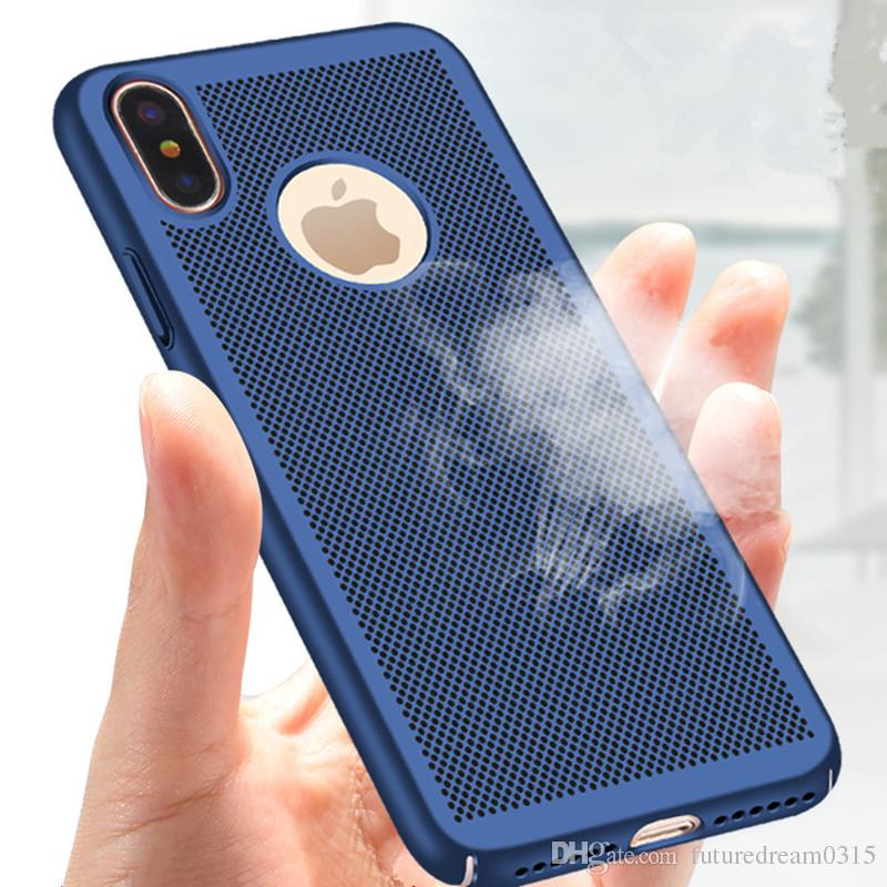 online store 6fecc 304ed New For Apple iPhone X Case Honeycomb PC Matte Back Cover Heat Dissipation  Cooling Housing For iPhone X 6 6s 7 Plus Phone Cases