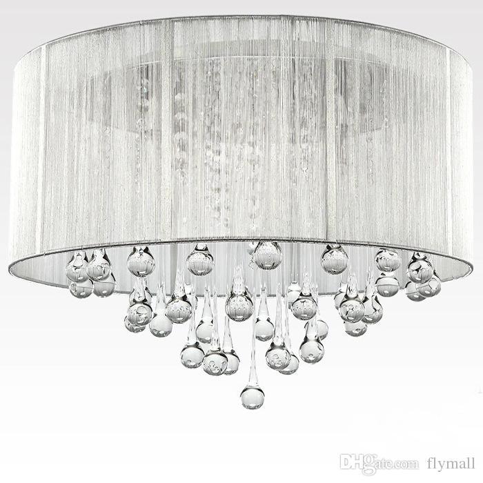 Modern Silver Crystal Pendant Light Home Ceiling Light Fixture Flush Mount Pendant Light Chandeliers Lighting for Bedroom Living Room