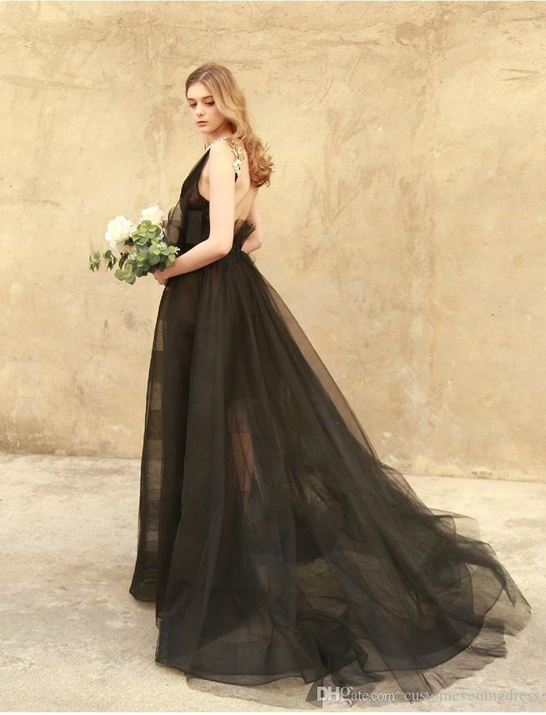 sexy backless deep v-neck see through black evening dress 2018 new style a-line vestidos long prom dresses Custom party gown