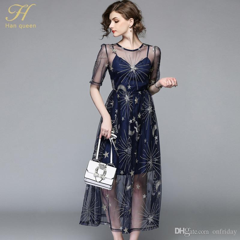 8dd469d2d5f6 H Han Queen neue 2018 Sommer Pailletten Netz Kleid Slim Sexy Perspektive  Frauen Kurzarm Vintage Big Swing Casual Kleider