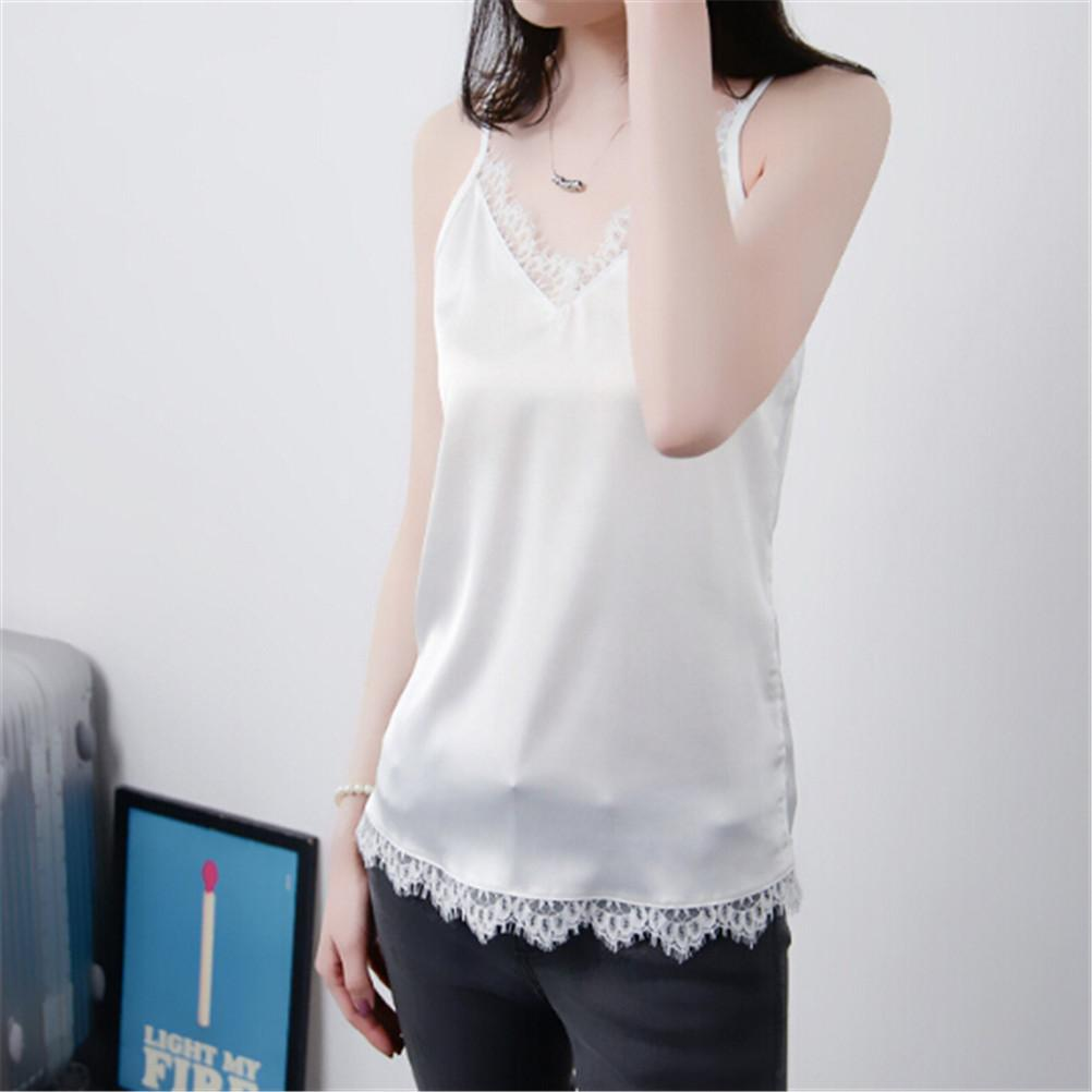 06bfb0354df4 2019 2018 New Summer Womens Vest Lace Camisole Crop Silk Tank Top Casual  Tops Lady Women Sexy V Neck Sleeveless Basic Tops Blusas From Carawayo