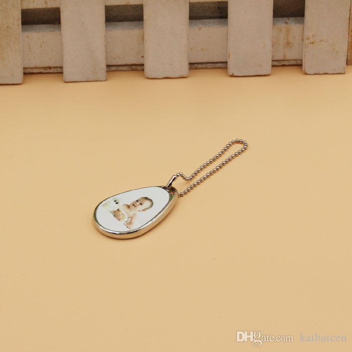 승화 금속 빈 물방울 모양 펜 던 트 키 체인 DIY 열 trasnfer 인쇄 빈 일반 키 체인 소재