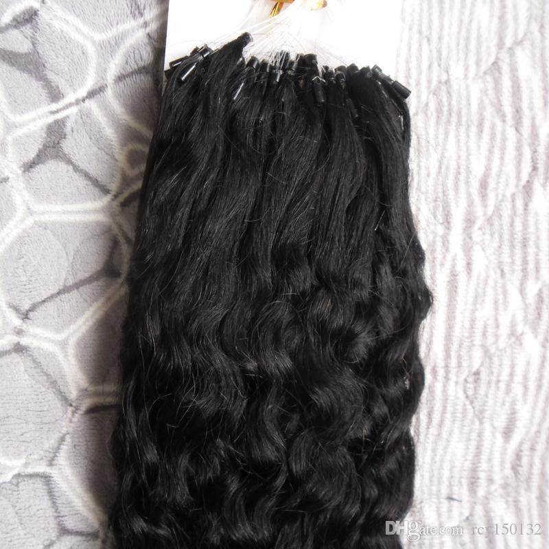 Кудрявый вьющиеся Реми волос петли микро кольцо природных человеческих волос расширение 100 г 1 г / пряди микро бисера волос