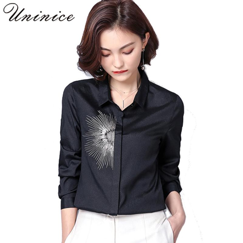 New Spring Tops Floral Embroidery All Match Slim Women Chiffon Blouse Shirt POLO Collar Plus Size Female Cardigan Shirt Top 2018