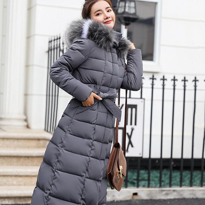 a3389578c318 2019 New Women Winter Long Fashion Female Big Fur Collar Duck Parkas Thick  Warm Elegant Down Coat Slim Wadded Jacket S929 From Rui03