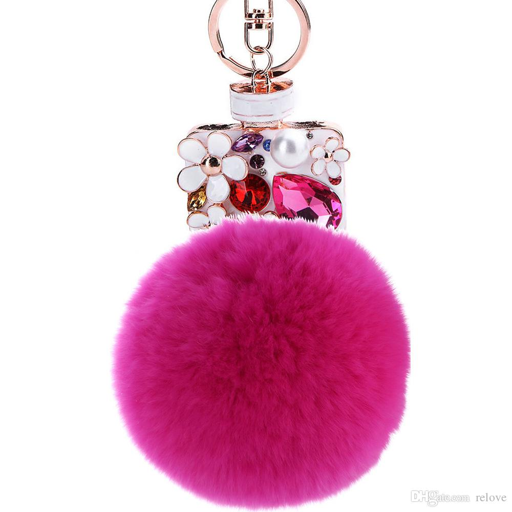 Girl Women Rabbit hair Fur Ball Keychain Scent Bottle Girl Handbag Accessories Car Key Chain For Bag free shippin