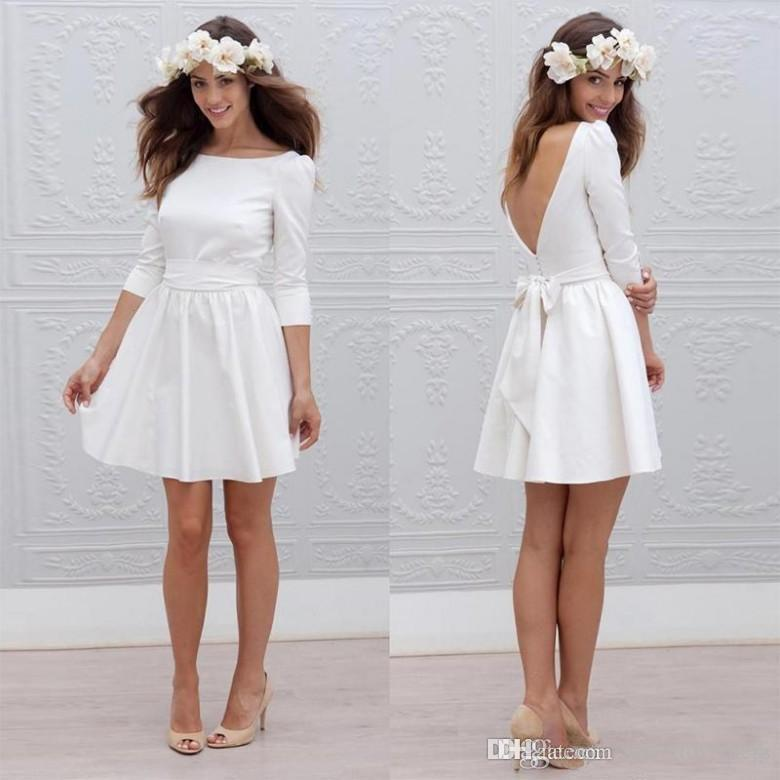 ee557abfc3e8 Discount Modest Informal Short Wedding Dresses With 3/4 Sleeve Mini  Reception Little White Dress Sexy Backless Beach Bridal Gowns Straight Line  Wedding ...
