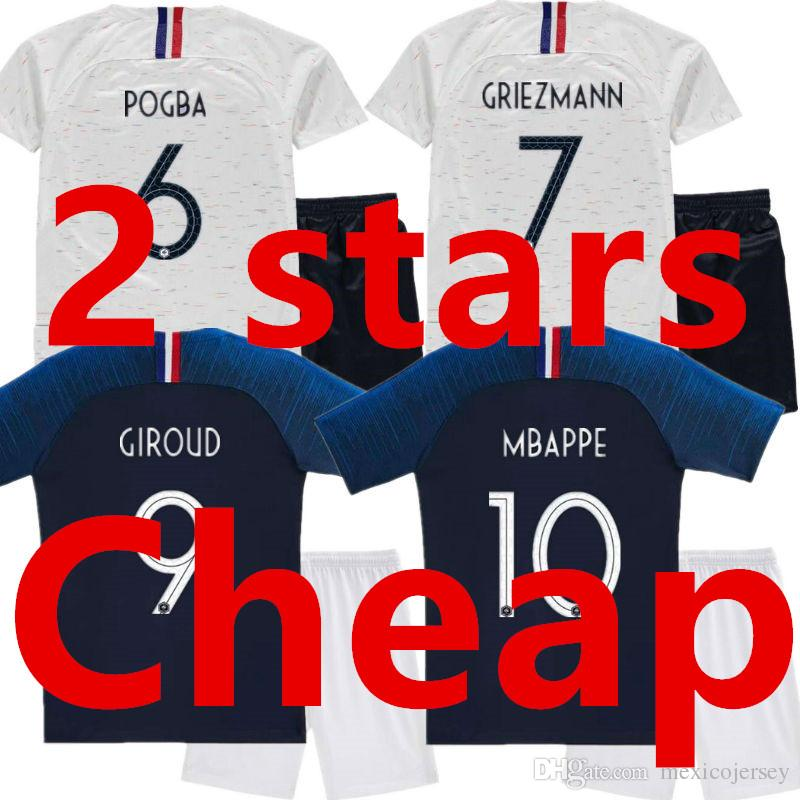 936cb8c810d 2 Stars World Cup 2018 2019 MBAPPE Kids Soccer Jersey Sets Two ...