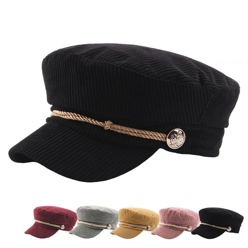 Winter Hat Cap For Women Corduroy Tweed Vintage College Visor Cap Female  Button Autumn Streetwear Brand Flat Casual Baseball Hats Online Cap Online  From ... 5c26f85e5ab