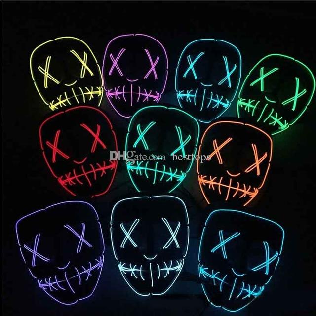 Led Halloween Mask El Wire Light Up Glowing Mask Masquerade Cosplay
