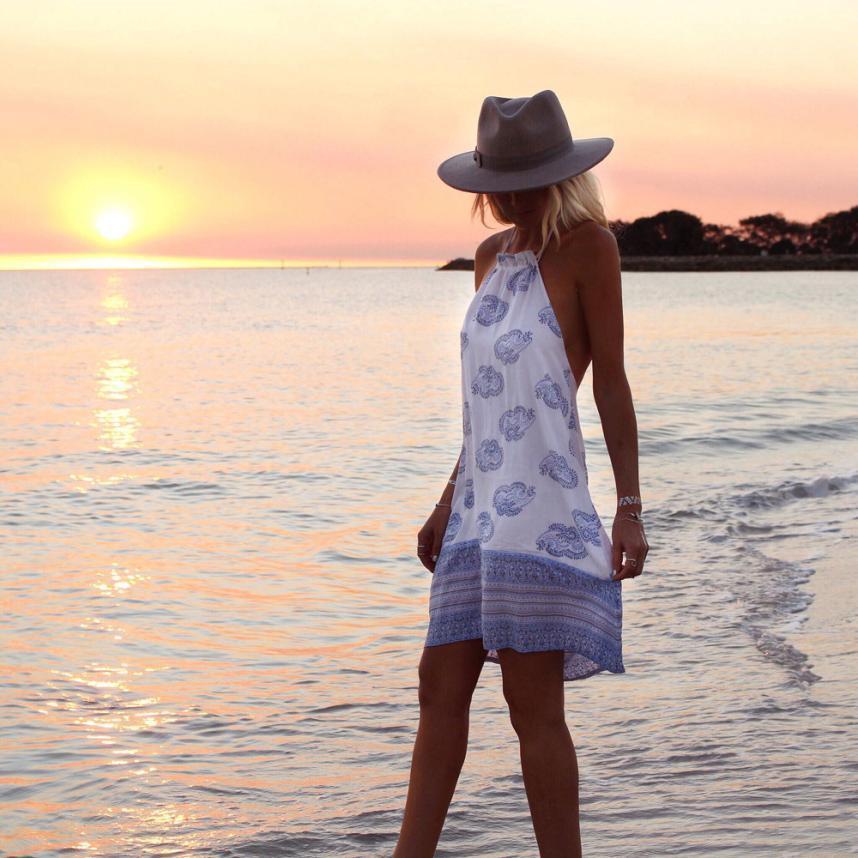 49b5fd7f Good Quality Womens Boho Holiday Plunge Ladies Mini Dress Summer Print Beach  Dress Boho Style Sundress Casual Shift Dresses Vestido White Sundresses For  ...