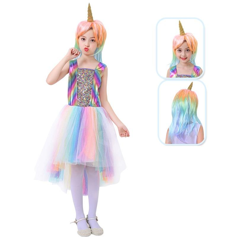 a854019437 Girls  Dress Rainbow Unicorn Party With Headband And Wig Halloween ...