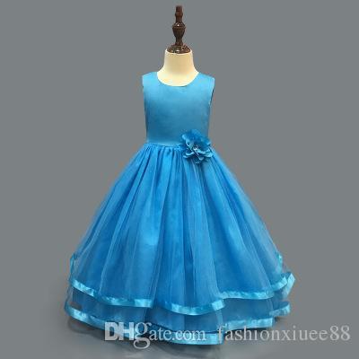 Pretty Lace Blue Puffy Flower Girl Dresses 2018 High Low Lace Appliques Communion Dresses Pageant Dresses For Little Girls