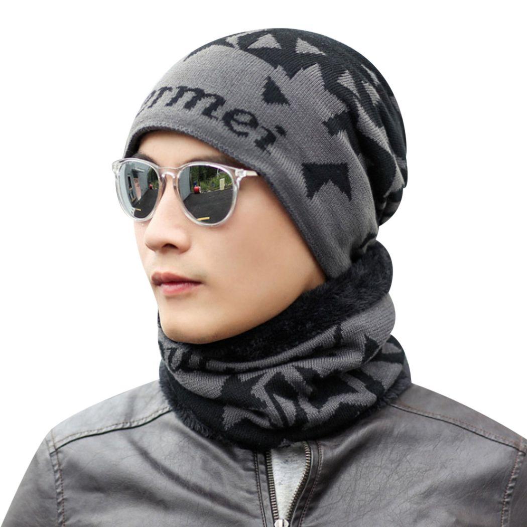 dbed01a047e 2019 New Crochet Knit Plicate Baggy Beanie Neck Warmer Set Men Women Wool  Blend Hat Mens Winter Warm Cap Scarf Skullies Sets Unisex 2 From Sihuoguo