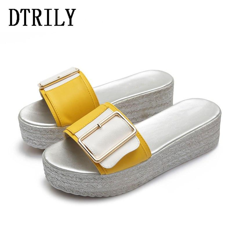 c6d932e054e20 Woman Metal Buckle Wedge Slippers Ladies Platform Mules Mixed Color ...