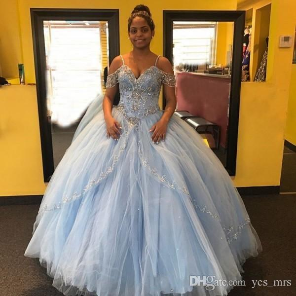 aaec5a62f3c 2018 Quinceanera Ball Gown Dresses Spaghetti Straps Beaded Crystal Tiered  Off Shoulder Puffy Sweet 16 V Neck Halter Party Prom Evening Gowns  Customize ...
